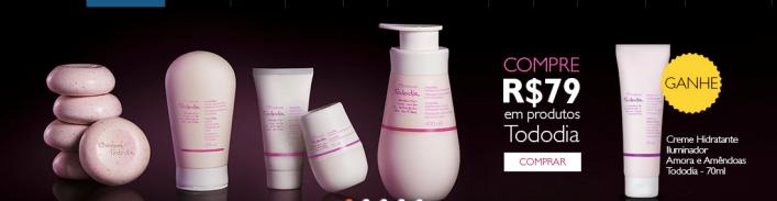 Compre R$ 79,00 em produtos Natura Tododia e ganhe grátis Creme Hidratante Iluminador para Colo Braços e Pernas Amora e Amêndoas Tododia - 70ml